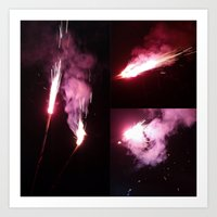 Sparklers Fly Collage Art Print