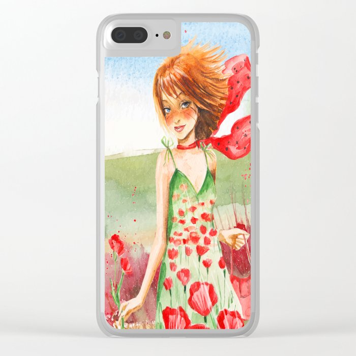 Poppy Girl in Poppies Summer Field Clear iPhone Case