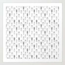 Capacitors - Black on White Art Print