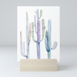 Minimalist Cactus Drawing Watercolor Painting Turquoise Cacti Mini Art Print