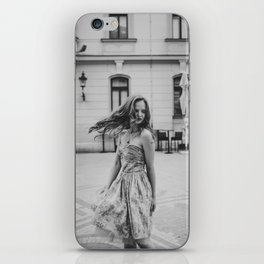 Girl with vintage dress in the city iPhone Skin