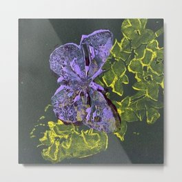 Yellow and Purple Butterfly Metal Print