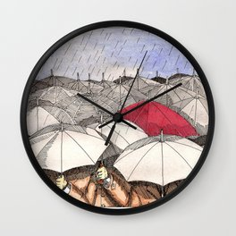 Standing Out in the Rain Wall Clock