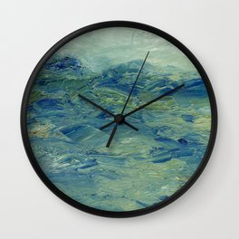 Abstract Blue Green Waves of Aqua Ocean Blue Mountains Wall Clock