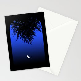 Moon shining through an Archway and Branch Silhouette, on a Blue Night Sky . Larger Stationery Cards