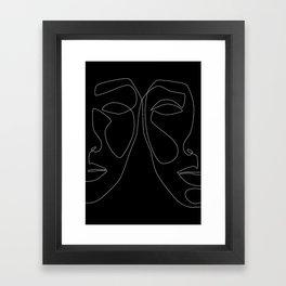 White line couple Framed Art Print