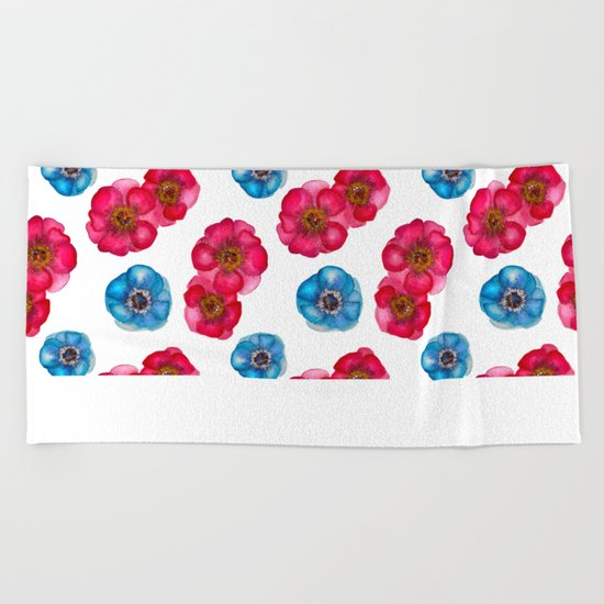 Pink and blue Anemones pattern Beach Towel
