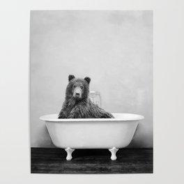 Brown Bear Bathtub Poster