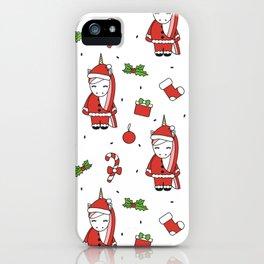 cute cartoon christmas pattern illustration with santa unicorns, gift boxes, socks, mistletoe iPhone Case
