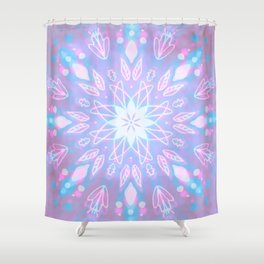Purple, Teal, White Aura Mandala Shower Curtain