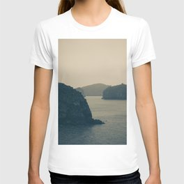 Misty Ocean Landscape. Moody View of the Ha Long Bay, Vietnam. Travel Photography T-shirt