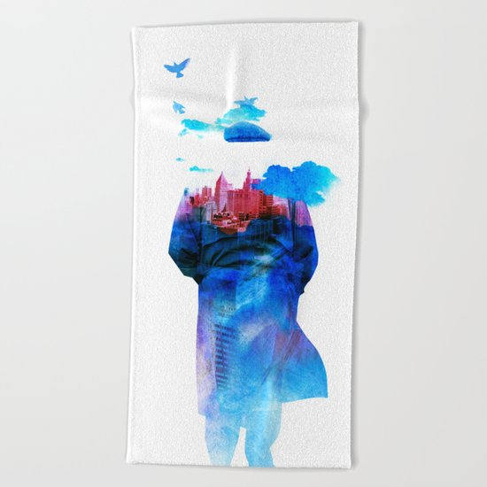 Get Away From Town (color version) Beach Towel