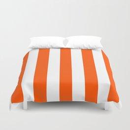 International orange (aerospace) - solid color - white vertical lines pattern Duvet Cover