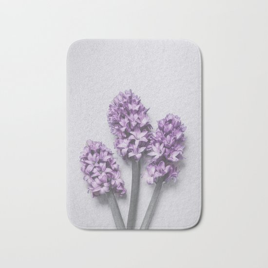 Three Light Purple Hyacinths Bath Mat