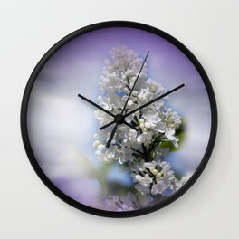 white lilac on textured background -a- Wall Clock