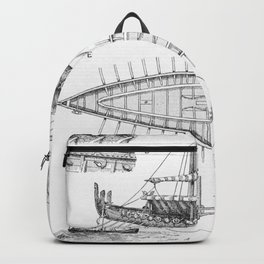 Vintage Viking Naval Ship History and Diagram Backpack