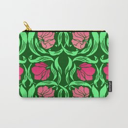 William Morris Pimpernel, Coral Pink and Green Carry-All Pouch