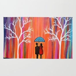 Colors Of Love Romantic Colorful Rainy Painting Rug