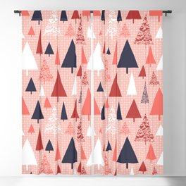 Living Coral snowy Christmas trees pattern Blackout Curtain
