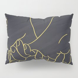 Friendship and love hands concept continuous line drawing Pillow Sham