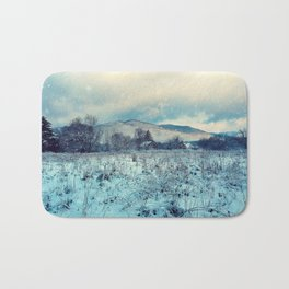 Snowy mountain landscape Bath Mat