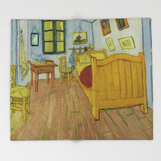 bedroom in arlesvincent van gogh throw blanketpalazzo art