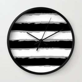 Black And White Lined Pattern. Wall Clock