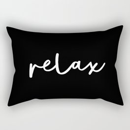 Relax black and white contemporary minimalism typography design home wall decor bedroom Rectangular Pillow