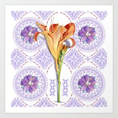 Gothic Revival Daylily Lace Art Print