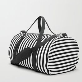 Black & White Small Vertical Stripes - Mix & Match with Simplicity of Life Duffle Bag