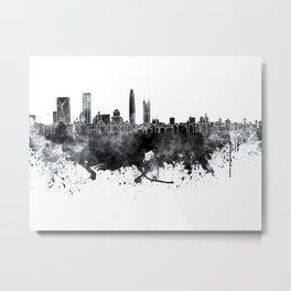 Shenzhen skyline in black watercolor on white background Metal Print