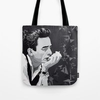 johnny cash Tote Bags featuring Johnny Cash by Iany Trisuzzi