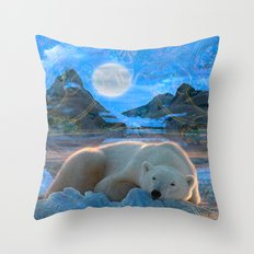 Just Chilling and Dreaming (Polar Bear) Throw Pillow
