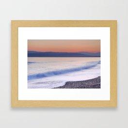 Pink waves. Sunset Framed Art Print