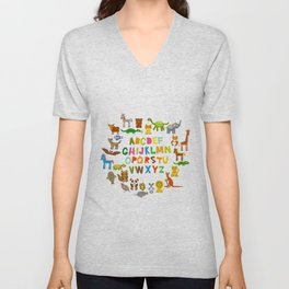 back to school. alphabet for kids from A to Z. funny cartoon animals Unisex V-Neck