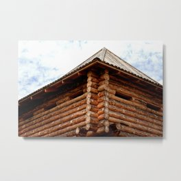 My House Is My Castle. Medieval Wood Log Fortress. White Clouds In The Background Metal Print