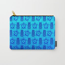 Blue Honu And Tiki Mask Carry-All Pouch