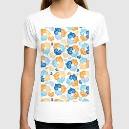 Triple Hearts Pattern. Love. Blue Orange Light Blue Pattern T-shirt
