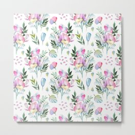 Flower pattern: watercolor Metal Print
