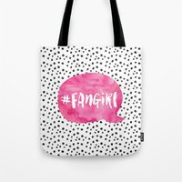 fangirl Tote Bags featuring #FanGirl by Miss Phi