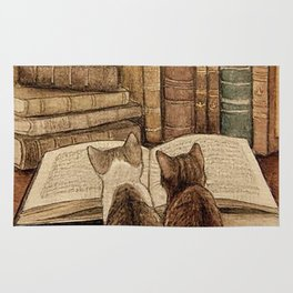 Kittens Reading A Book Rug