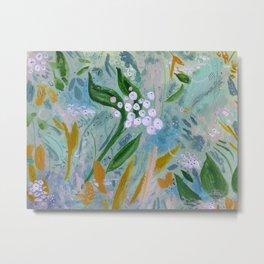 Ash Green Floral Metal Print
