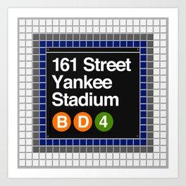 subway yankee stadium sign Art Print