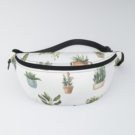 Potted Plants Watercolor Pattern Fanny Pack