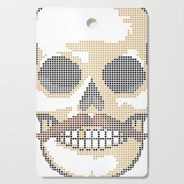 Handlebar Mustache Biker Skull - Cross Stitch Color Coded Chart Cutting Board