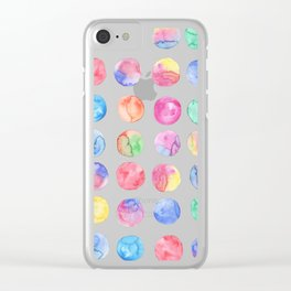Artistic hand painted pink blue green watercolor brush strokes polka dots Clear iPhone Case