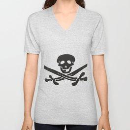 Black pattern for a Jolly Roger t-shirt Unisex V-Neck
