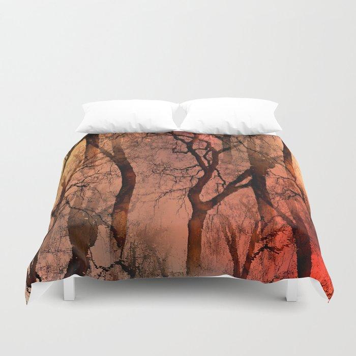 Glamour Trees (orange) Duvet Cover