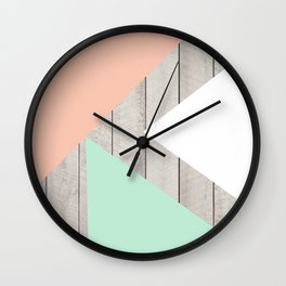 Modern Teal Peach Triangles Color Block on Wood Wall Clock