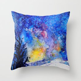 Midnight Galaxy Road watercolour by CheyAnne Sexton Throw Pillow